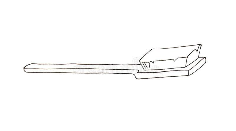 Escova de dentes tirada m?o ilustração stock