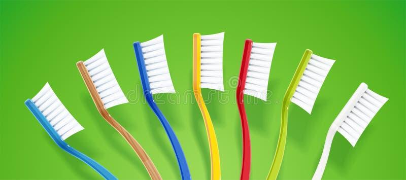 Escova de dentes Vassoura dental Grupo colorido para a higiene do dente Ilustra??o do vetor ilustração royalty free