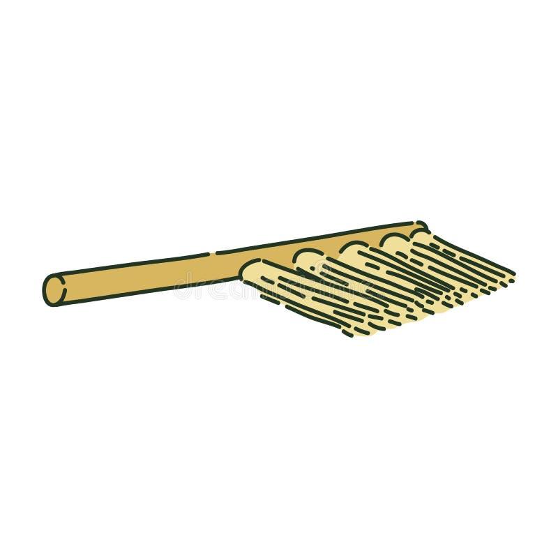 Escova de limpeza ou estilo arqueológico do esboço da vassoura ilustração do vetor