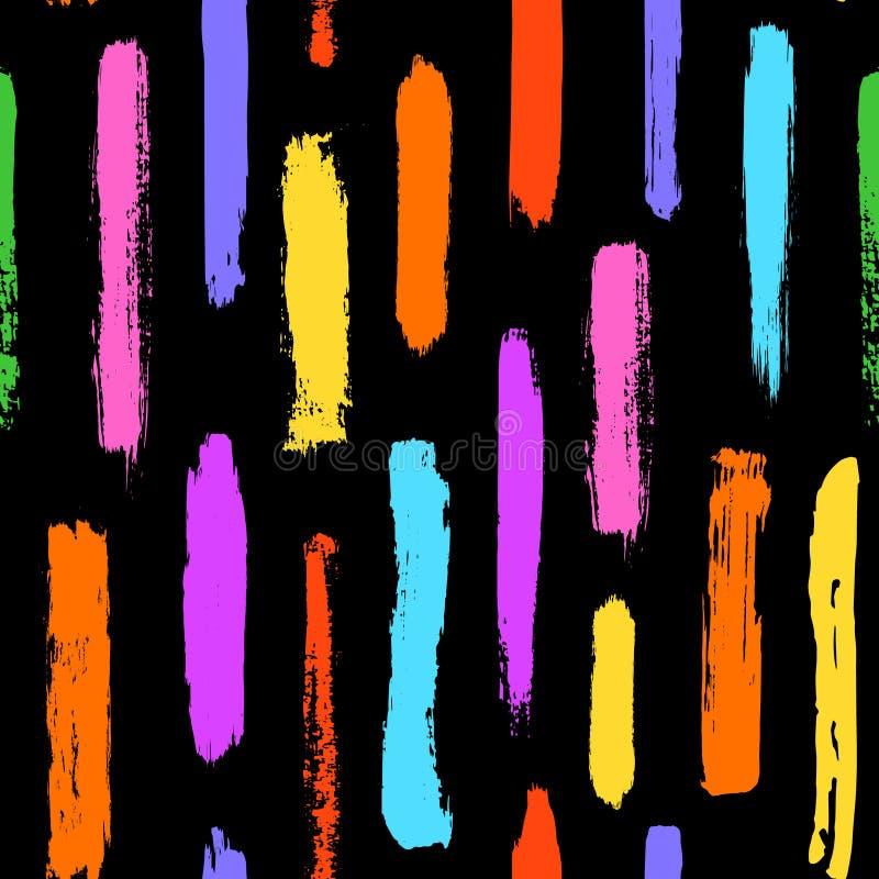 A escova de pintura afaga o teste padrão sem emenda das formas coloridas das texturas ilustração royalty free