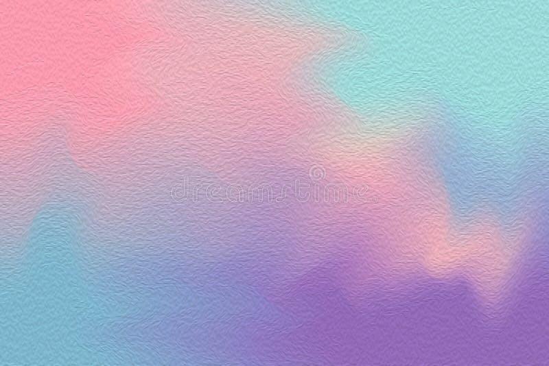 Escova de pintura brilhante colorida azul cor-de-rosa no fundo de papel da textura, papel de parede acrílico da cor de água da mu ilustração stock