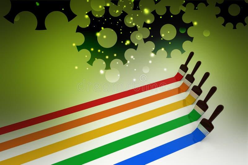 Escova de pintura com linhas de cor ilustração royalty free