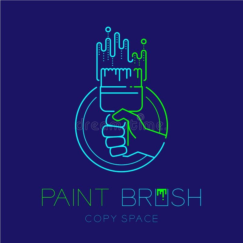 Escova de pintura da cerda da terra arrendada da mão e linha ilustração isolada na obscuridade - azul do traço do grupo do curso  ilustração stock