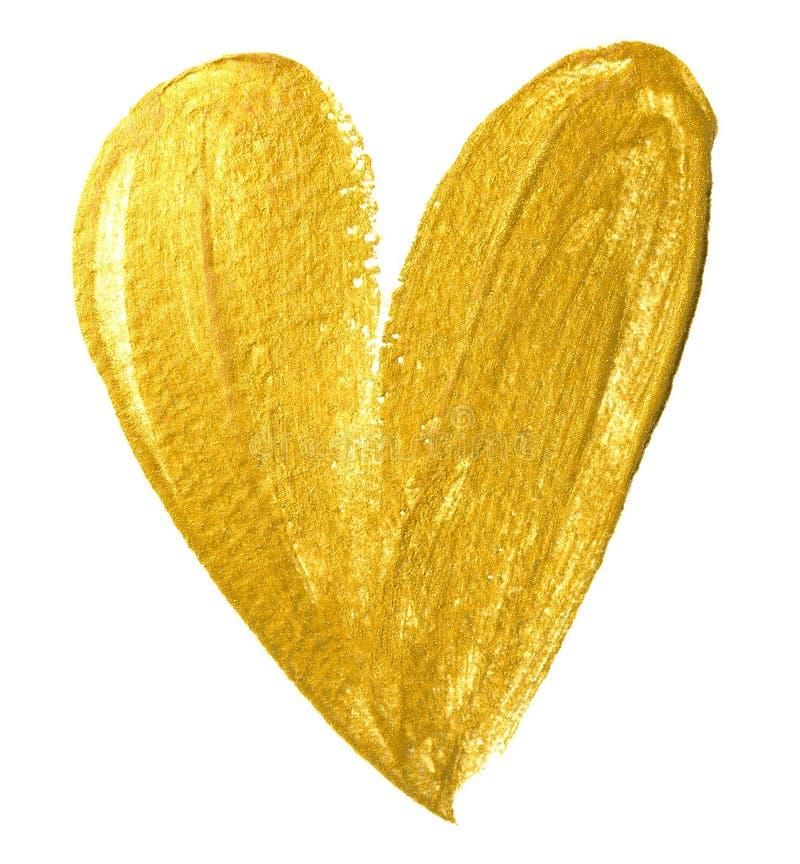 Escova de pintura do ouro do coração do Valentim no fundo branco Pintura dourada da aquarela da forma do coração para o projeto d fotos de stock royalty free
