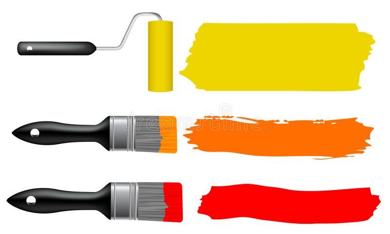 Escova de pintura e rolo de pintura ilustração do vetor