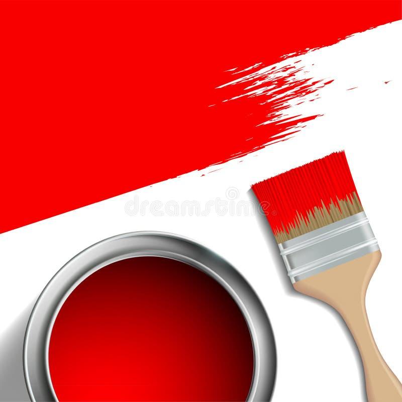 Escova de pintura e uma cubeta da pintura vermelha ilustração do vetor