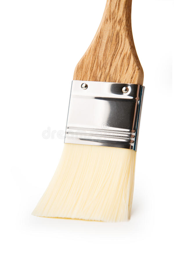 Escova de pintura larga isolada no branco imagens de stock