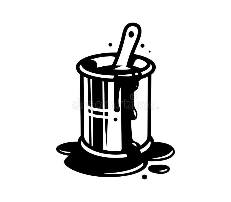 A escova de pintura na cubeta pode molde ilustração stock