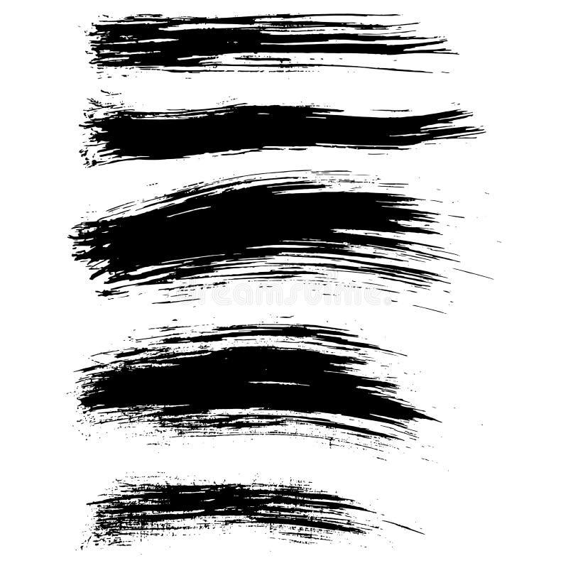 A escova de tinta preta do vetor afaga o fundo Ilustração do vetor Textura de Grunge ilustração royalty free