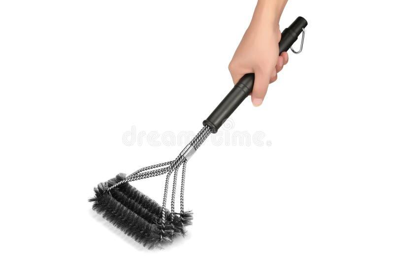A escova do BBQ, escova do assado, esfrega a escova, escova de Derusting, escova de fio de aço fotografia de stock royalty free