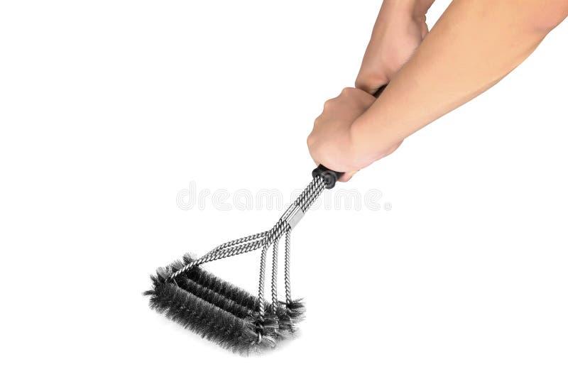 A escova do BBQ, escova do assado, esfrega a escova, escova de Derusting, escova de fio de aço foto de stock