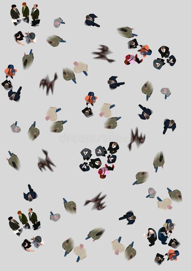 Escova do ilustrador da conversa da reunião da multidão da vista aérea ilustração royalty free
