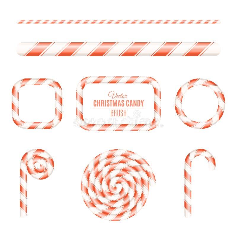 Escova do Natal do pirulito vermelho e branco Pirulito de Sugar Christmas Quadros dos doces Doces para o feriado Ano novo Vetor ilustração royalty free