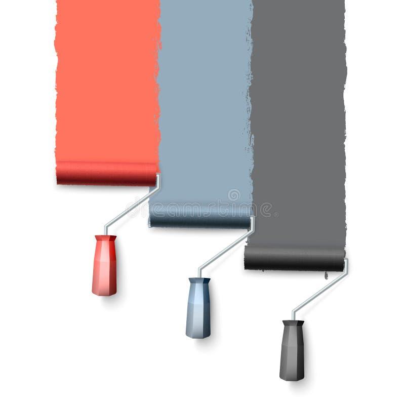 Escova do rolo de pintura Textura colorida da pintura ao pintar com um rolo Três rolos pintam a parede um por um Vetor ilustração do vetor