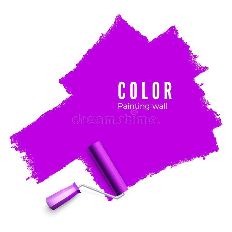 Escova do rolo para o texto Escova do rolo de pintura Colora a textura da pintura ao pintar com um rolo Pintando a parede no roxo ilustração royalty free
