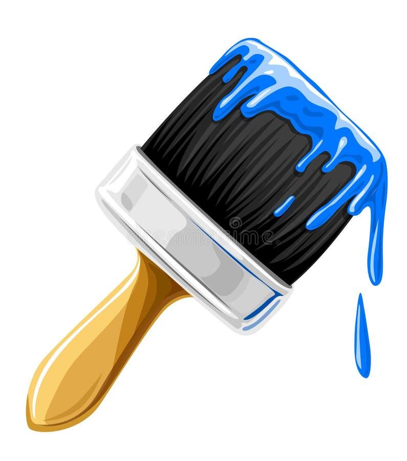 Escova do vetor com a pintura azul isolada ilustração stock