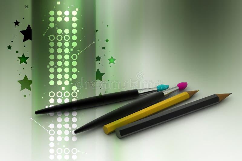 Escova e lápis de pintura ilustração stock