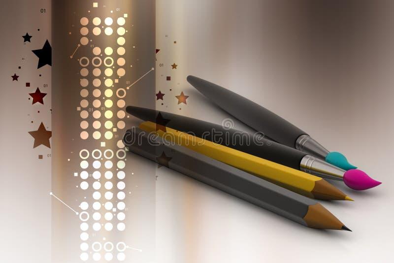Escova e lápis de pintura ilustração royalty free