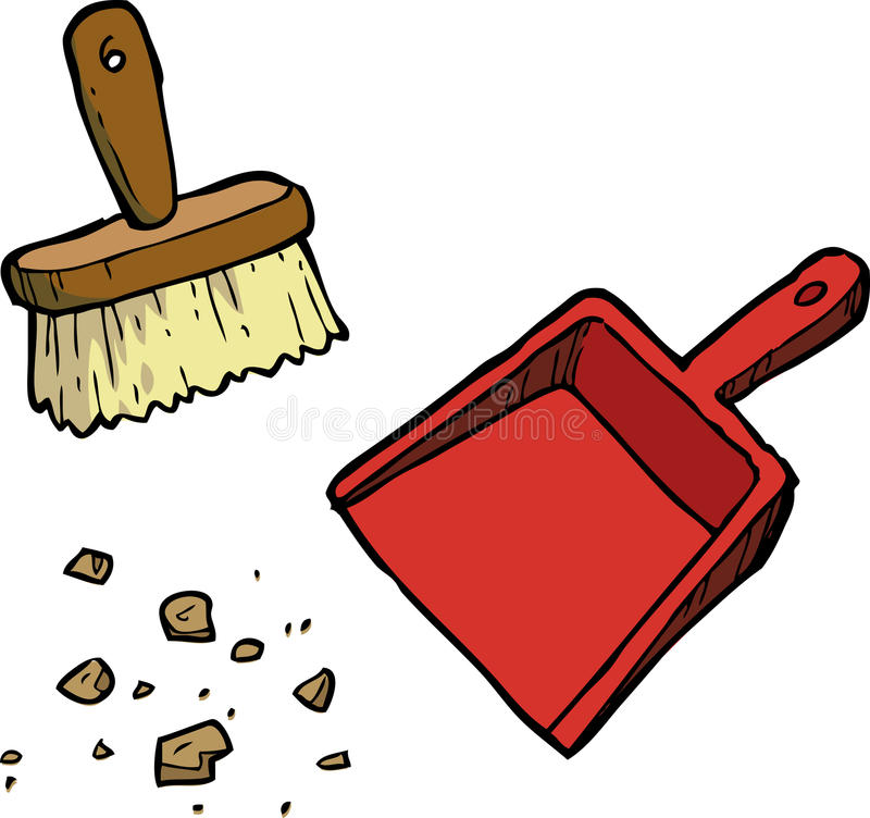 Escova e pá-de-lixo ilustração royalty free