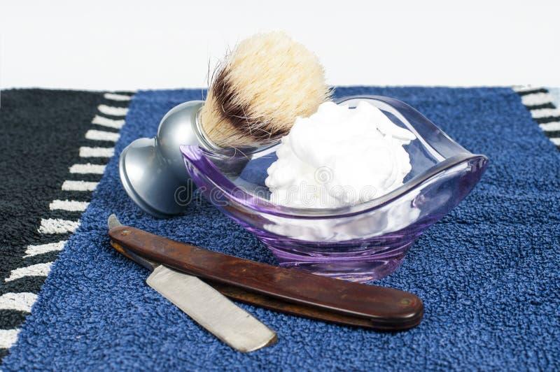 Acessórios do shave do ` s do homem fotos de stock