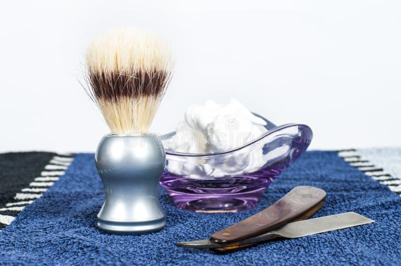 Acessórios do shave do ` s do homem fotos de stock royalty free