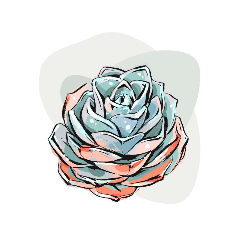 A escova gráfica tirada mão da tinta do sumário do vetor textured flores suculentos da flor do desenho de esboço em cores verdes  ilustração stock