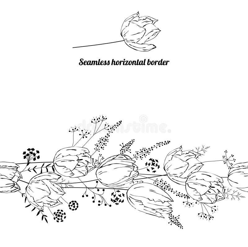Escova infinita floral do teste padrão feita das tulipas ilustração royalty free