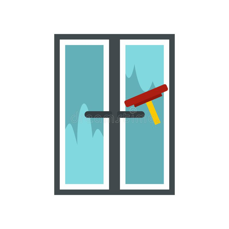 A escova lava um ícone da janela, estilo liso ilustração do vetor