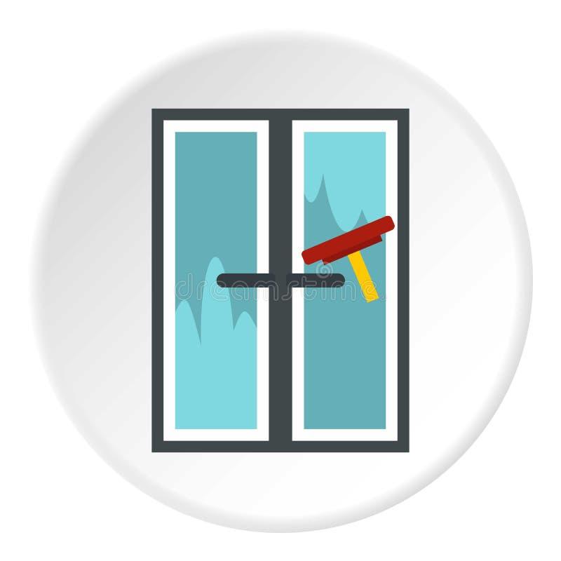 A escova lava um círculo do ícone da janela ilustração do vetor
