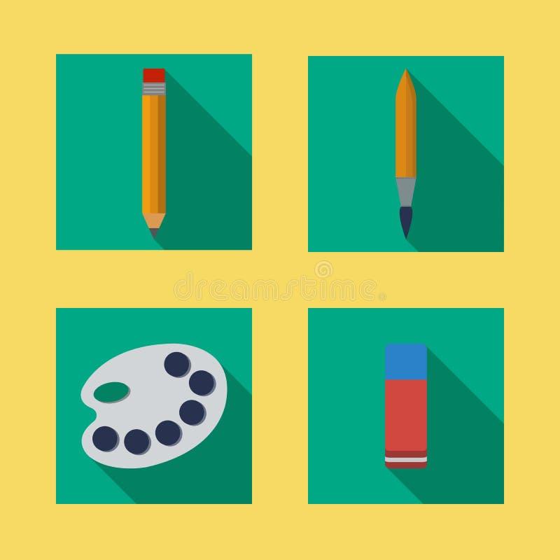 Escova lisa do lápis das ferramentas de desenho do ícone do vetor imagem de stock