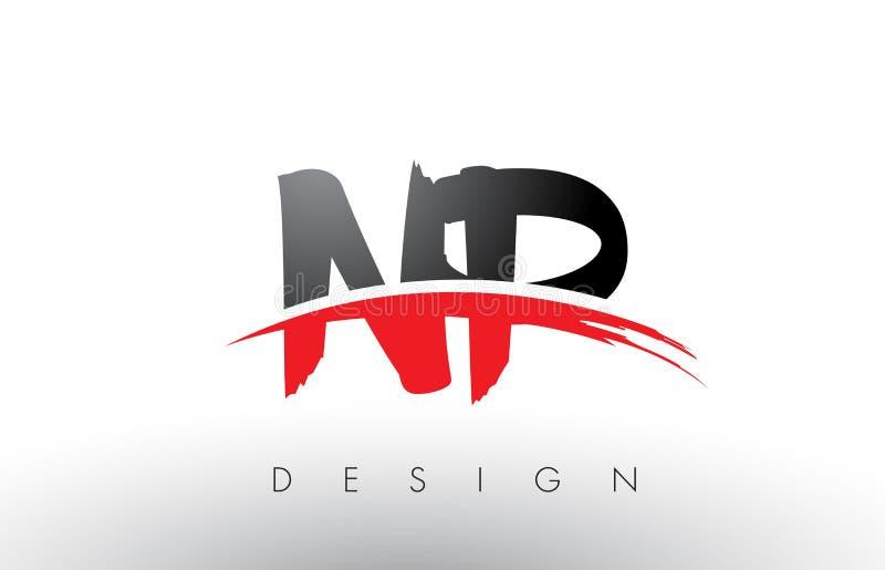 Escova Logo Letters do NP N P com parte dianteira vermelha e preta da escova do Swoosh ilustração stock