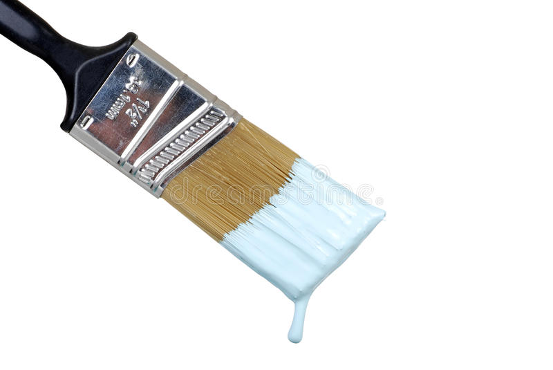 Escova que goteja a pintura azul fotos de stock