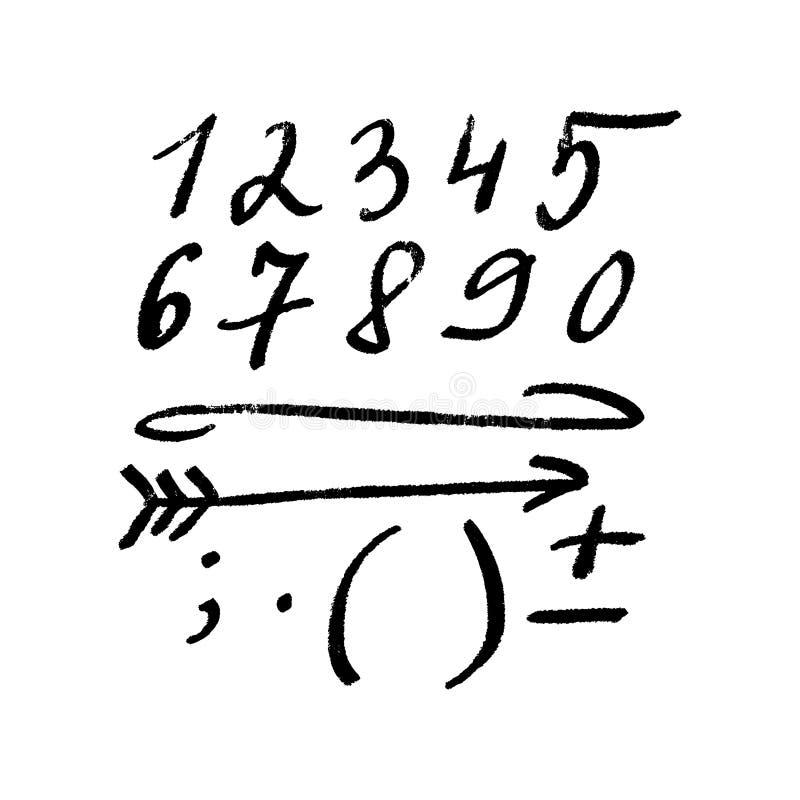 Escova que rotula o grupo dos números Estilo moderno, detalhes escritos à mão da caligrafia ilustração do vetor