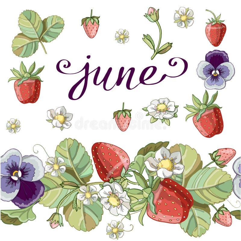 Escova sem emenda com elementos românticos florais, morango e violeta ilustração royalty free