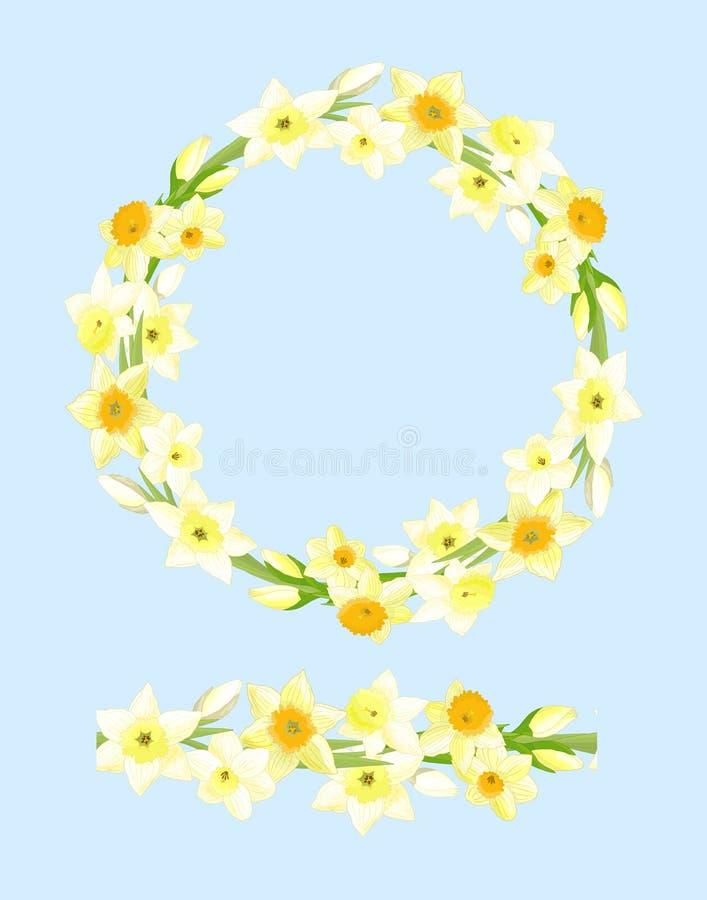 Escova sem emenda e uma grinalda dos narcisos amarelos ilustração royalty free