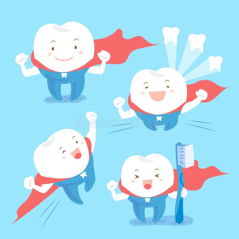 Escova super da tomada do dente dos desenhos animados ilustração stock