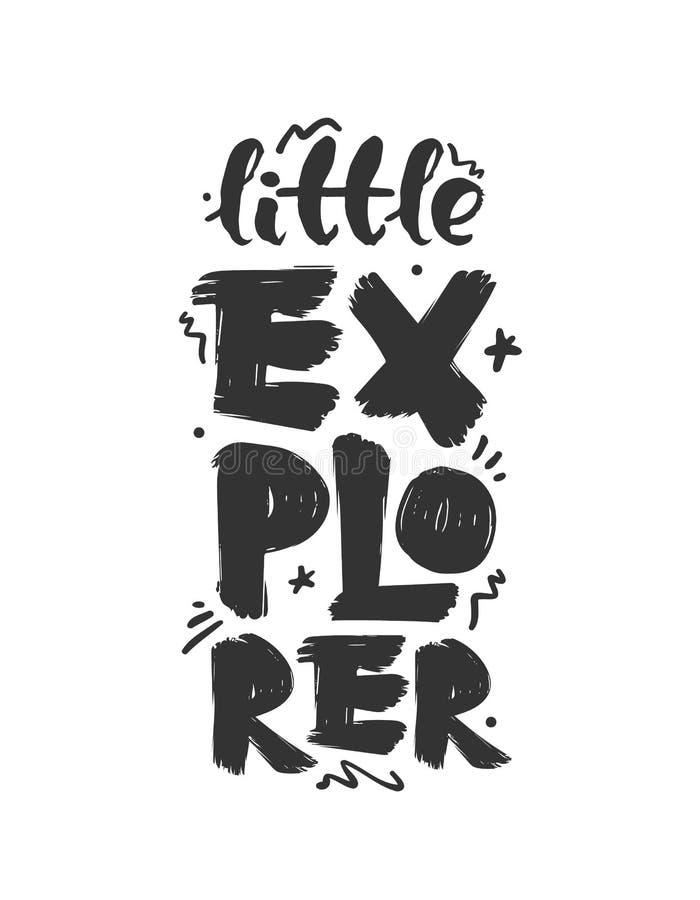 Escova tirada mão que rotula a composição do explorador pequeno Projeto da c?pia ilustração royalty free