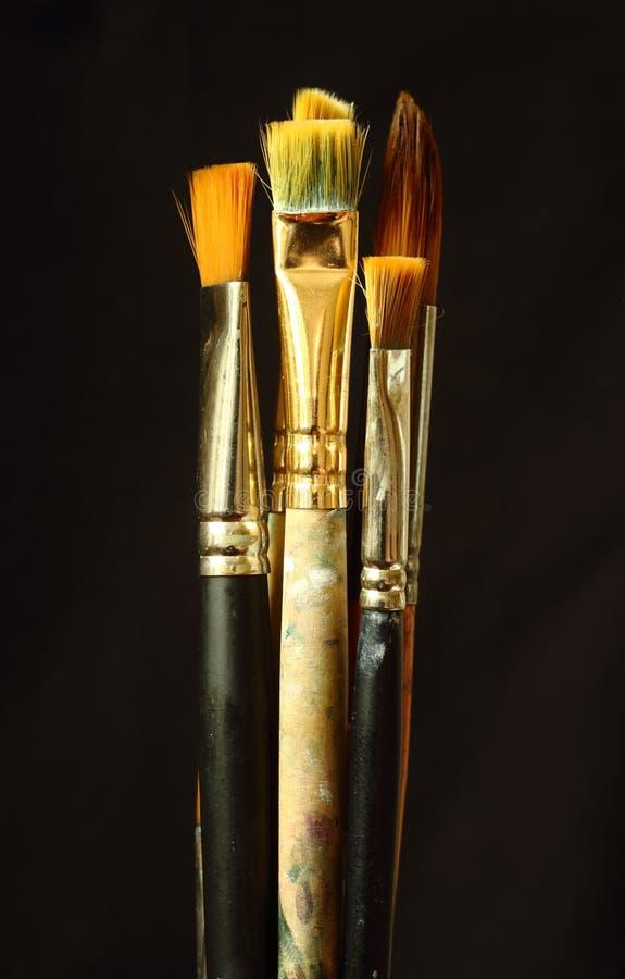 Escovas artísticas criação As artes Assunto da faculdade criadora imagens de stock