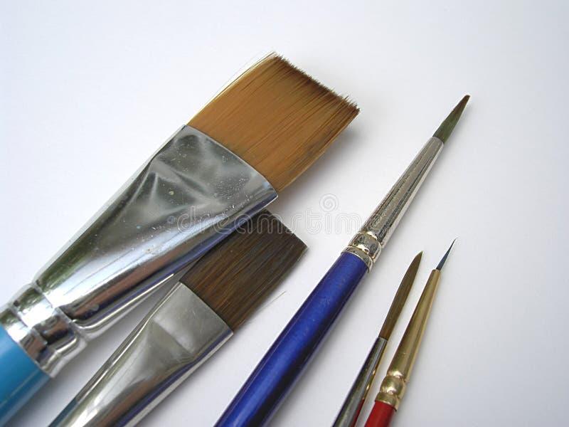 Escovas da bela arte imagem de stock