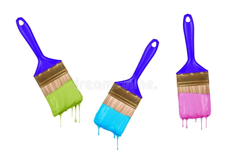 Escovas da pintura colorida gotejamento imagens de stock royalty free