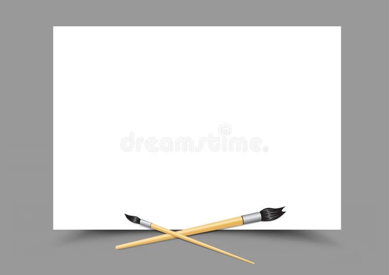 Escovas de Livro Branco e de pintura ilustração do vetor