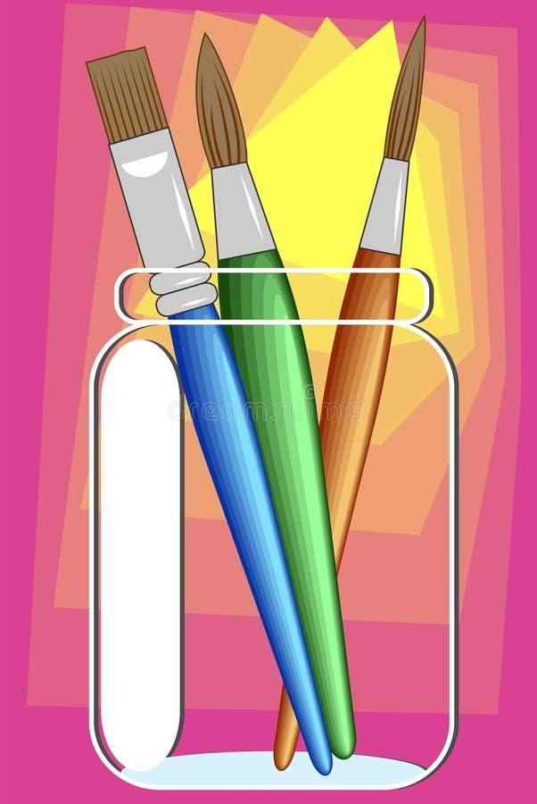Escovas de pintura ilustração stock