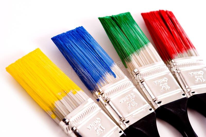 Escovas de pintura coloridas fotografia de stock royalty free