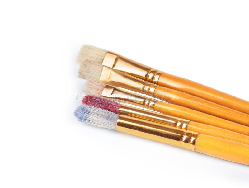 Escovas de pintura com guache imagens de stock royalty free