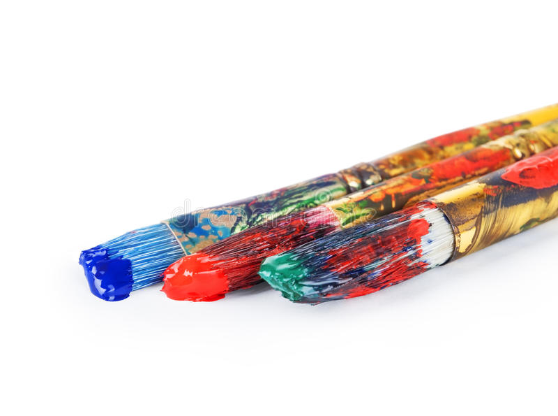 Escovas de pintura com guache fotografia de stock