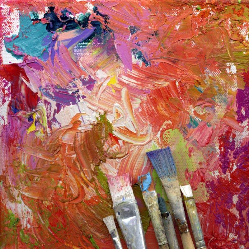 Escovas de pintura que encontram-se na arte finala ilustração stock