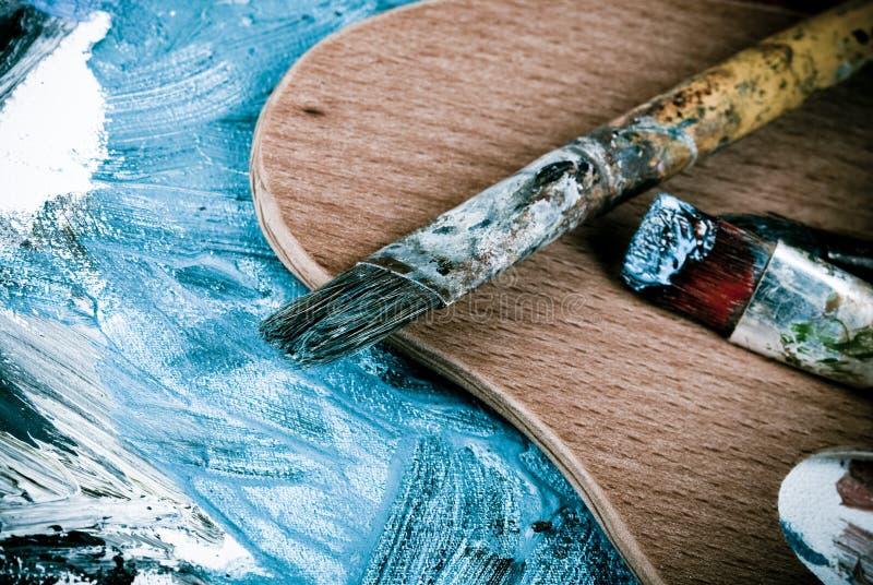 Escovas de pintura retros fotografia de stock