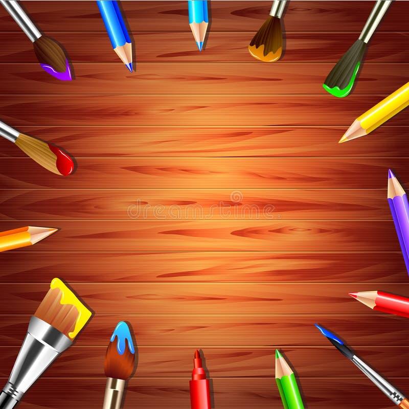 Escovas e lápis de pintura no fundo de madeira ilustração royalty free