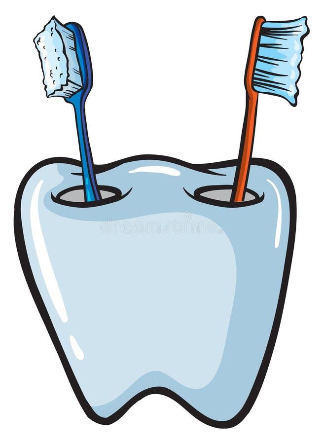 Escovas em um suporte de escova ilustração do vetor