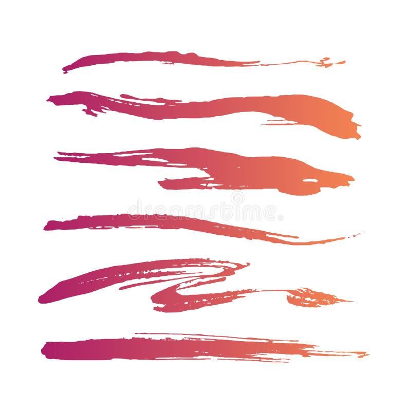 Escovas feitos a mão encaracolado do rosa do grunge abstrato ilustração royalty free